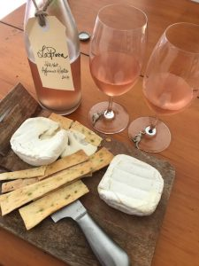 Pét-Nat Aglianico Rosato 2017 with Udder Delights Goat's Cheese