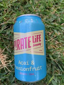 Beer can of Pirate Life Acai and Passionfruit