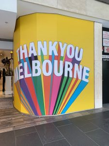 Thank You Melbourne window decoration in Melbourne CBD